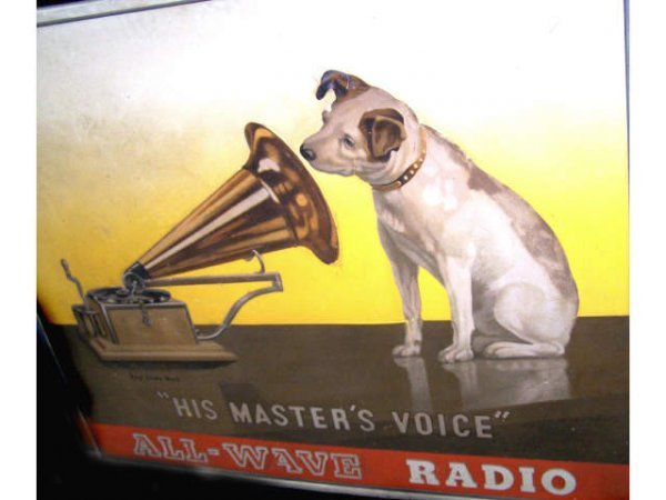 "174: Vintage "" His Masters Voice "" Advertising Sign"