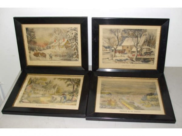 402: Lot of 4 Currier & Ives Lithographs