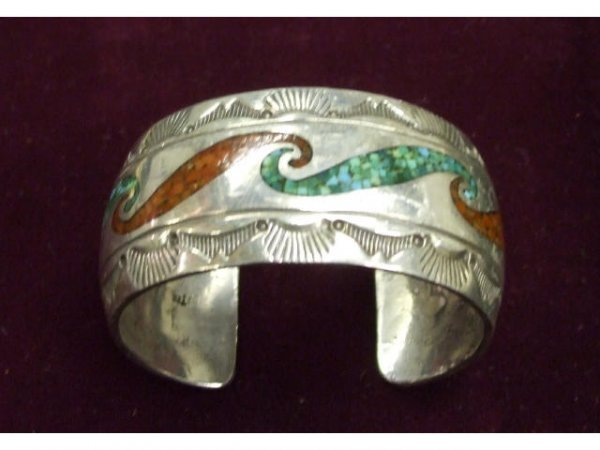 700: Sterling  Indian Pawn Bracelet Turquoise & Coral