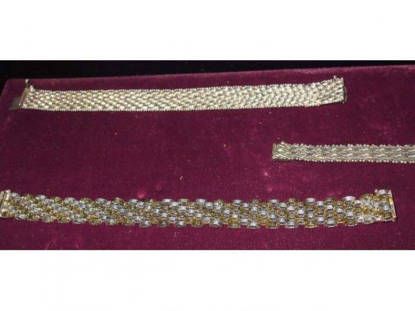 704: Lot of 3 Sterling Link Style Bracelets