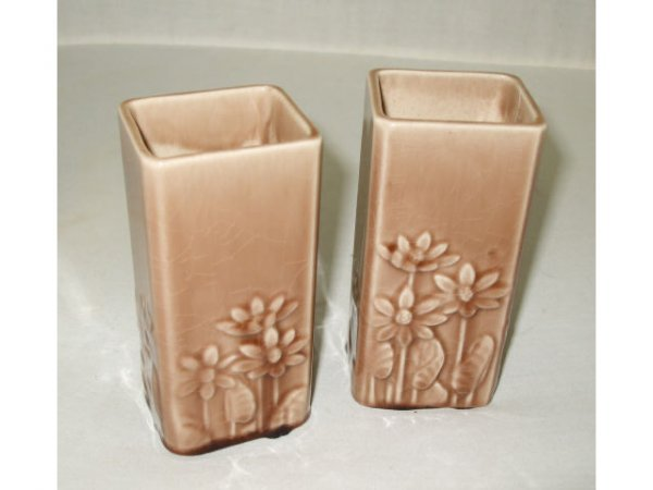 714: Pair of Matched ROOKWOOD Floral Vases