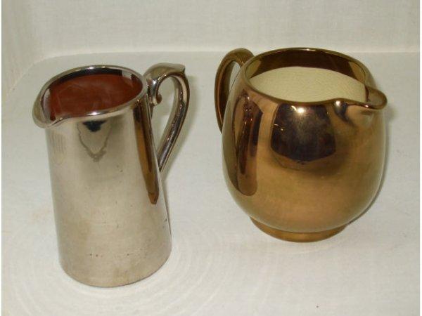 722: 2 English Metal over Redware Milk Pitchers