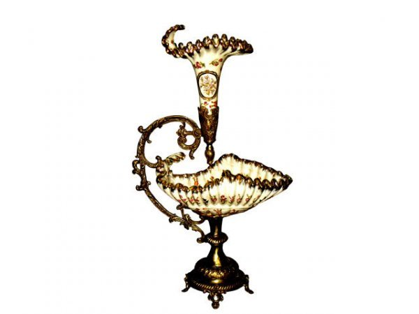 1307: Porcelain and Bronze Epergne Style Center Piece