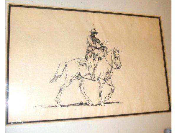 1509: Edward Borein India Ink Vaquaro Sketches