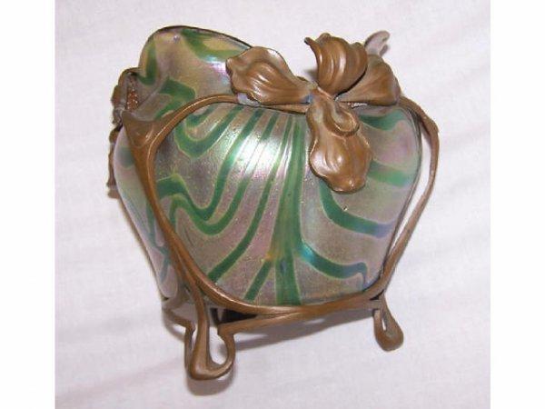 1750: Fine Loetz Art Nouveau Metal Mounted Art Glass Va