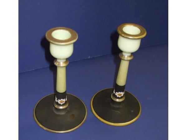 1041: Fancy Applied Decor Depression Glass Candlesticks