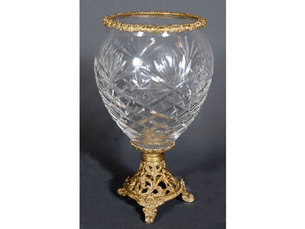 6: Dore Bronze and Cut Crystal Vase
