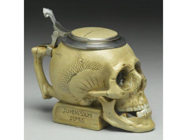 7: Porcelain and Pewter Skull Stein