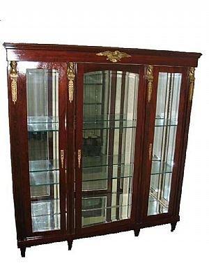 14: Mirrored Back Mahogany Triple China Cabinet