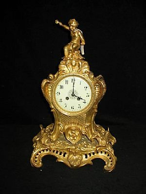16: Fine Seated Cherub Dore Bronze Clock
