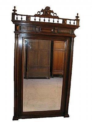 18: Fancy Oak Figural Entry Mirror
