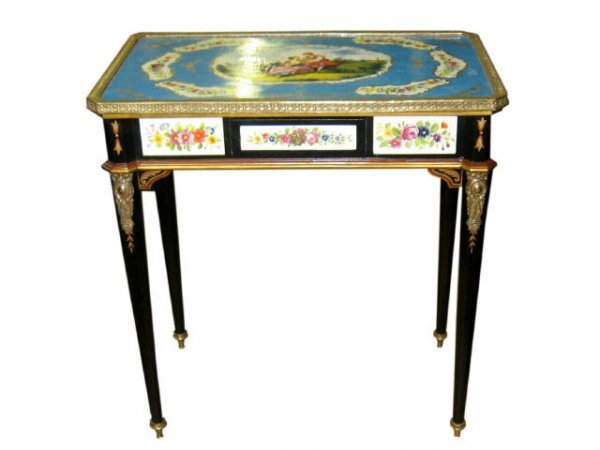 22: Hand Painted Sevres Style Painted Table