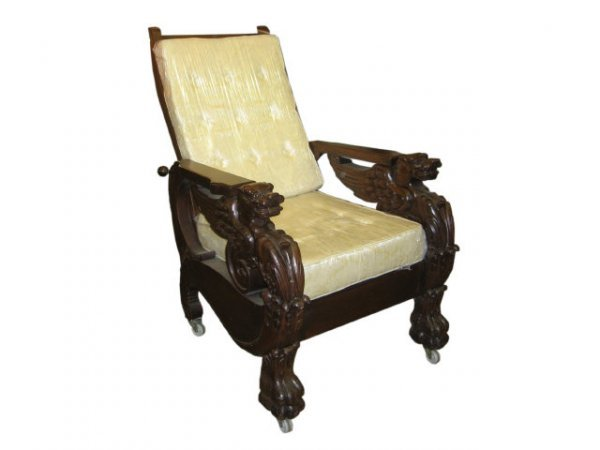 26: Fine Mahogany Carved Griffin Morris Chair