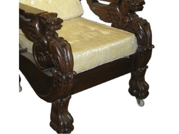 26: Fine Mahogany Carved Griffin Morris Chair - 2