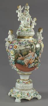 28: Monumental Dresden Style Cherub Urn