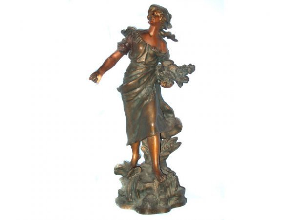 319: Moreau French Patinated Metal Figure