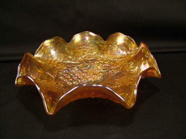 9303: Marigold Carnival Glass Open Bowl