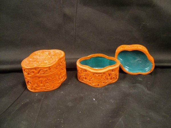 9307: 2 Vintage CINNABAR Decorative Boxes