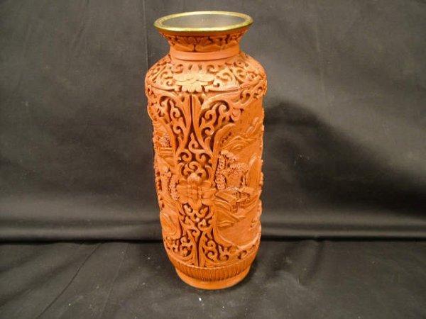 9308: Heavy Carved Vintage CINNABAR VASE
