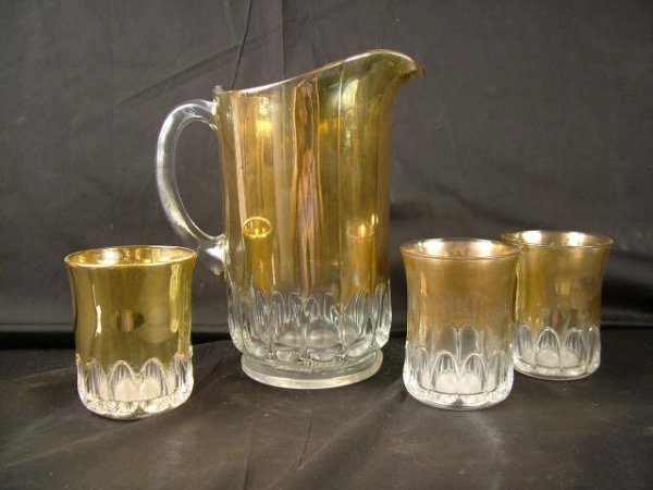 9313: Victorian Decorated Glass Water Set