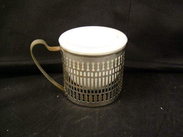 9321: Porcelain Shaving Mug in Silver Holder