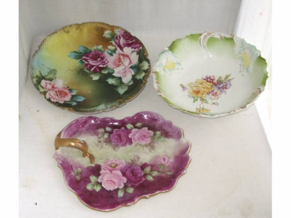 1016: Lot of 3 Hand Decorated Porclain Items