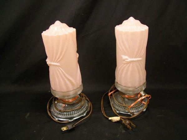 9008: Pink Art Deco Beaudoir Lamps