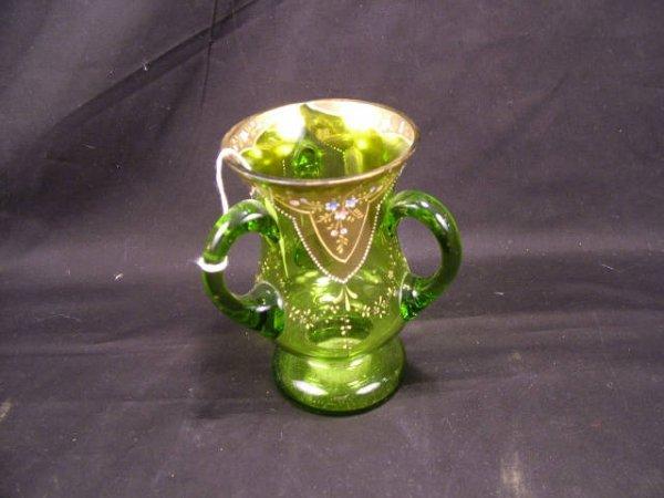 9009: Fine Victorian Emerald Glass Loving Cup