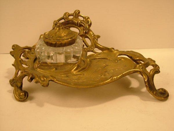 9010: Art Nouveau Brass Inkwell