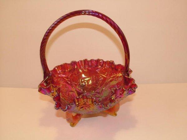9012: Red Carnival Glass Handled Basket