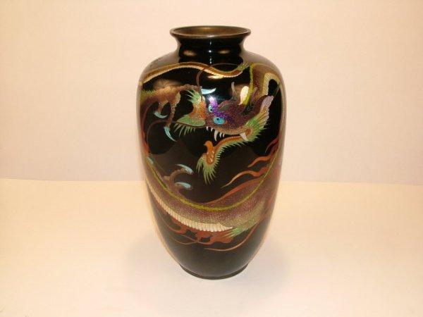 9021: Vintage Cloisone DRAGON Vase