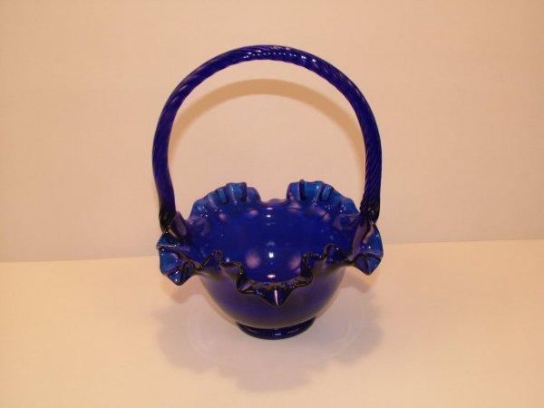 9023: Blue Vintage Carnival Glass Basket with Handle