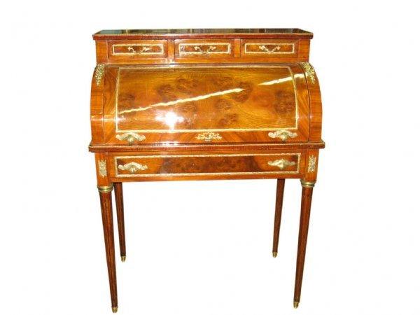 176: Fine Cylinder Roll Mahogany & Satinwood Desk