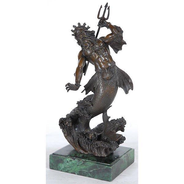 177: Fine Neptune Bronze on Marble