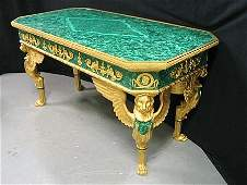 182: Magnificent Dore Bronze & Malachite Writing Desk