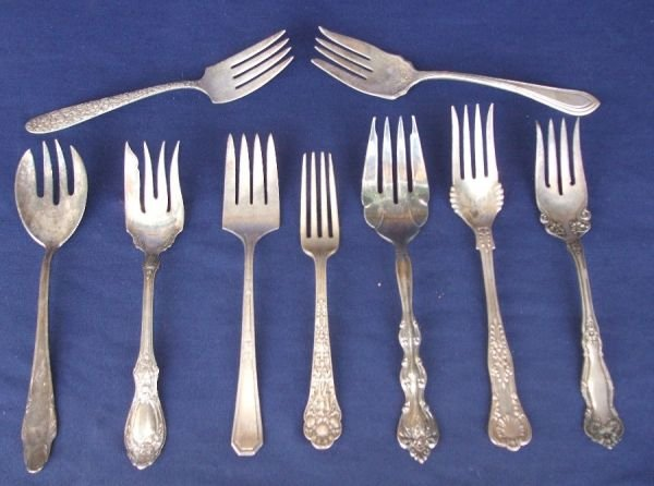 14081: Huge Lot of  Silver Serving and Meat Forks