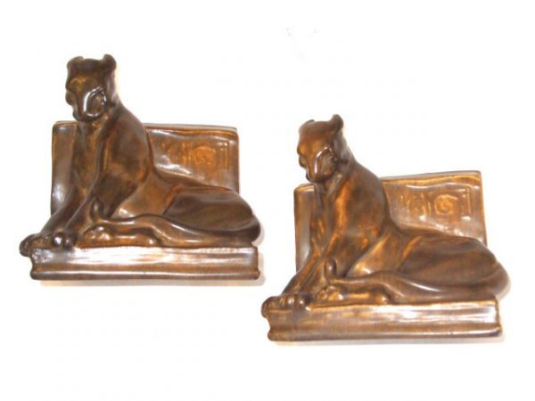 13010: Fine Pair of DECO ROOKWOOD LION Bookends