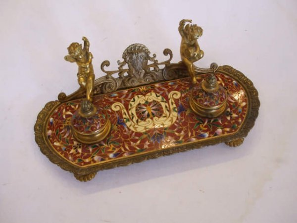13017: Stunning French Champleve & Bronze Inkwell