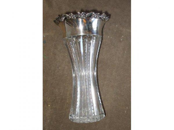13018: American Brilliant Cut Crystal & Sterling Vase