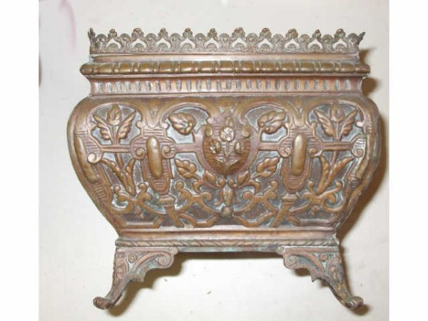 10000: Embossed Copper Patinated Planter