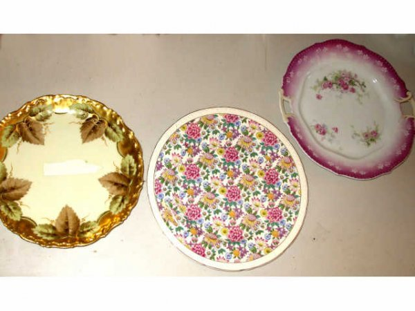 10013: Lot of 3 Porcelain Assorted Chargers