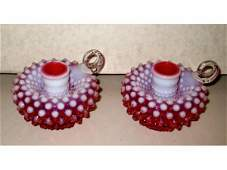 10016: Fenton Cranberry Opalescent Candle Holders