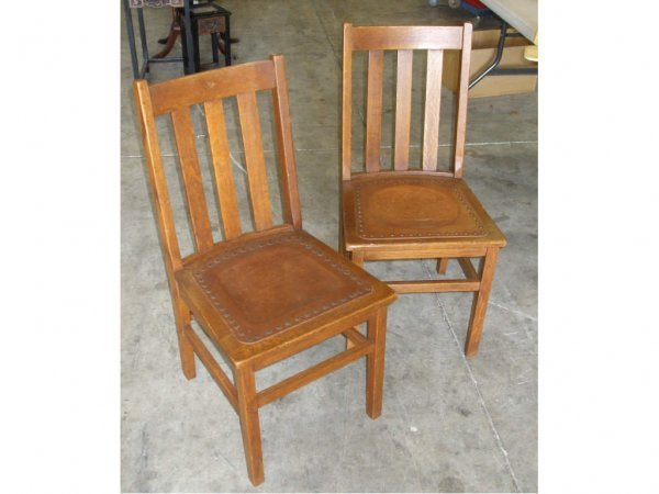 972: 2 Mission Oak Leather Seat Chairs