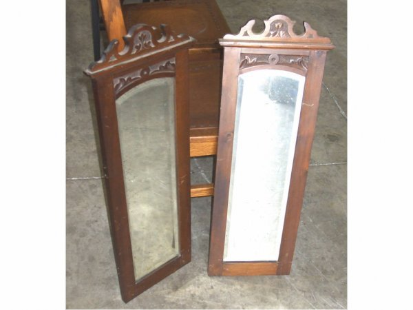 973: Lot of 2 Art Nouveau Walnut Mirrors