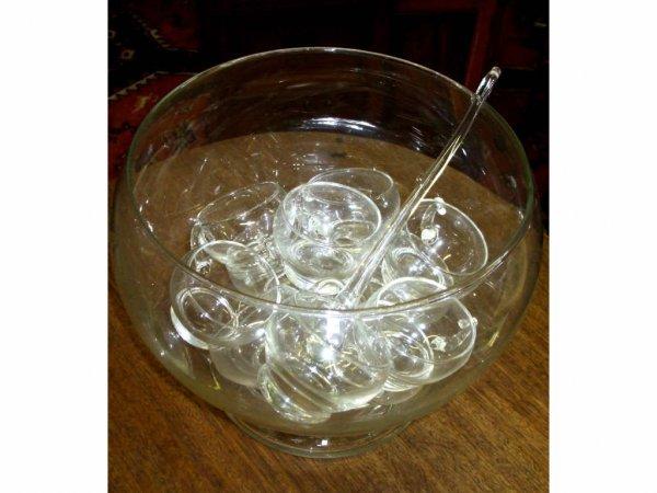 978: Vintage Glass Punch Set w/ Ladle