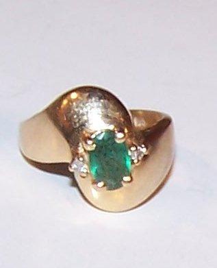 1602: Ultra Fine Emerald & Diamond 14k YG Ring