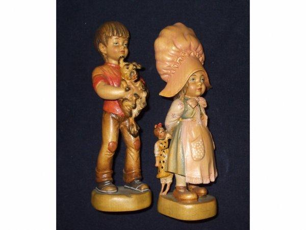 1621: 2 Hand Made Wooden Carved DOLFI Figures