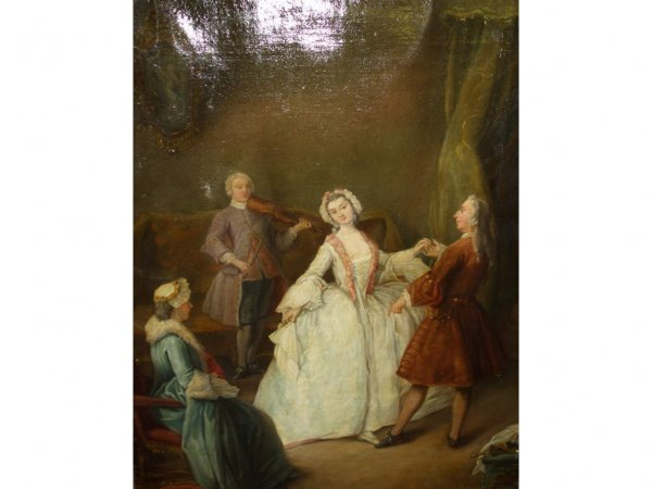 1662: Fine 1800s Oil Painting THE DANCE