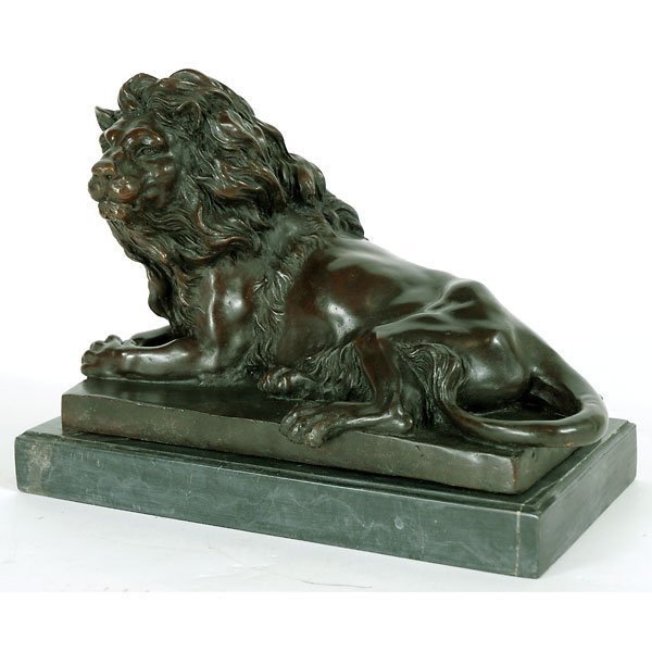 3: Fine Bronze Lion on Marble Plynth