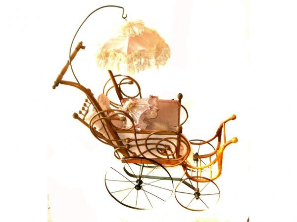 40: Victorian Stick & Ball DOll Carriage with Parasol